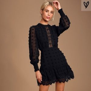 Lulu's Lust or Love Black Embroidered Lace Dress